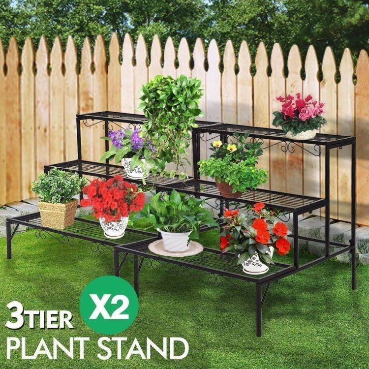 2x Levede Plant Stands Outdoor Indoor Metal 3 Tier Planter Corner Shelf
