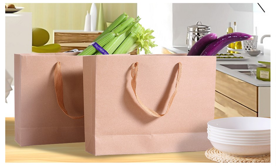 50x Brown Paper Bag Kraft Eco Recyclable Carry Shopping Retail Bags Handles