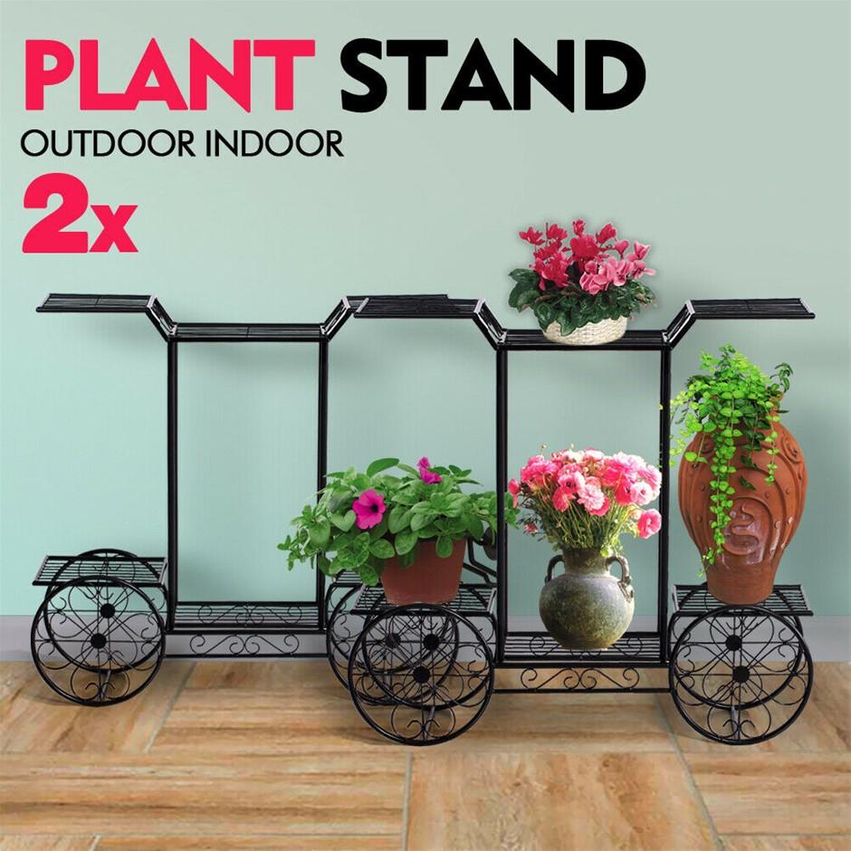2x Plant Stand Outdoor Indoor Pot Garden flower Rack Wrought Iron 4Wheeler