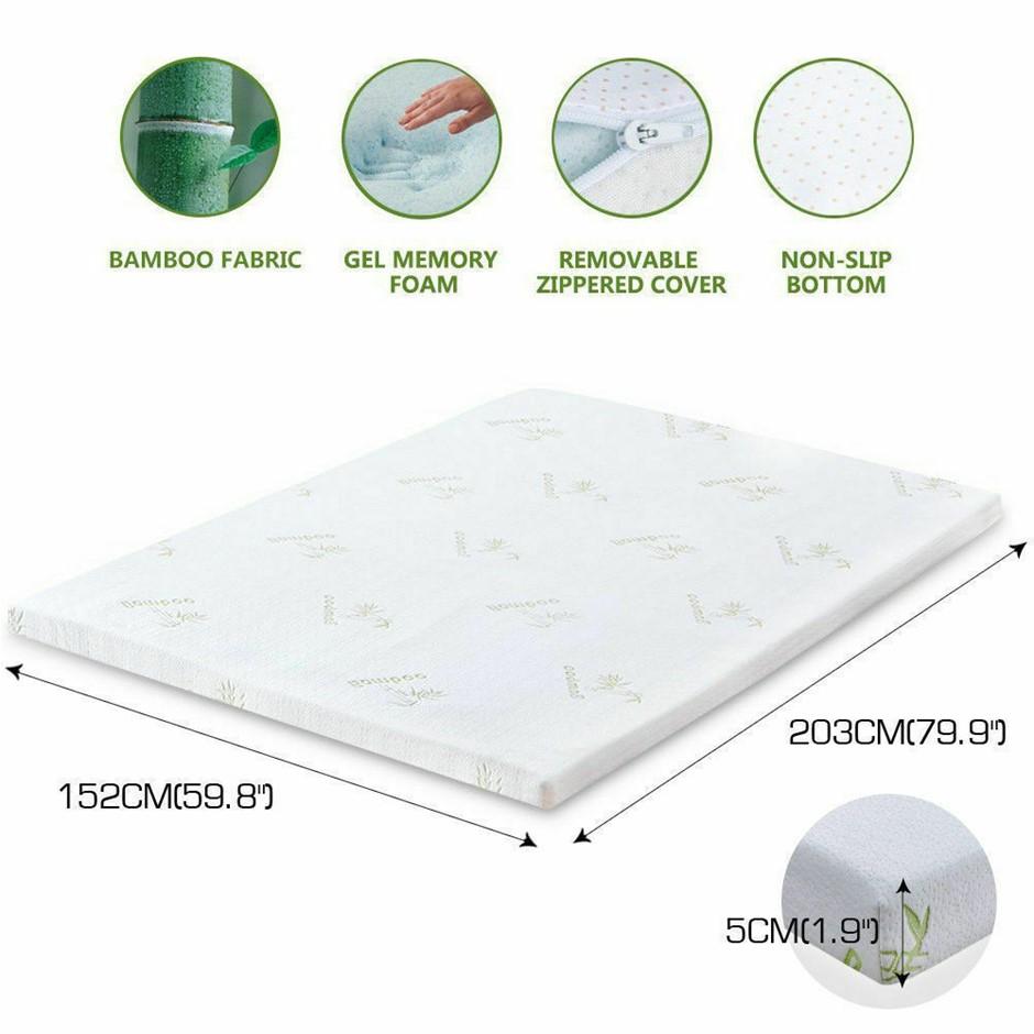 DreamZ 5cm Thickness Cool Gel Memory Foam Mattress Topper Bamboo Queen