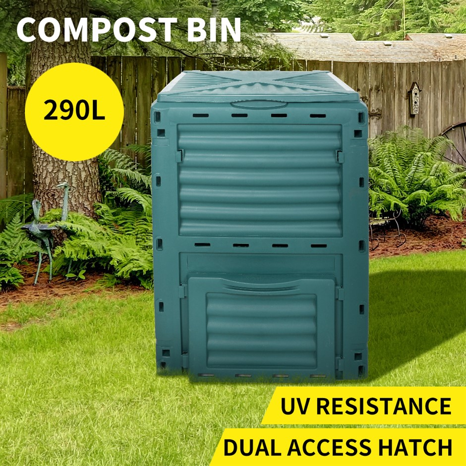 290L Compost Bin Food Waste Recycling Composter Garden Composting Green