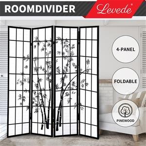 Levede Room Divider Screen 4 Panel Woode