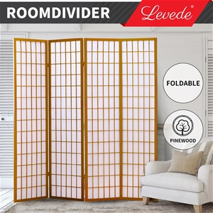 Levede Room Divider Screen 4 Panel Woode