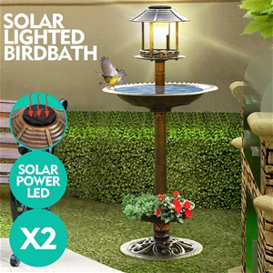 2x Ornamental Garden Decor Bird Bath Fee