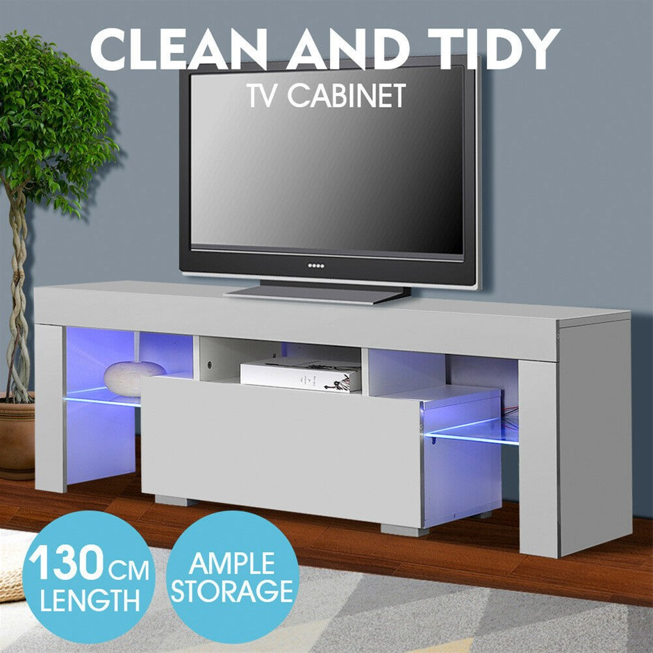 TV Cabinet Entertainment Unit Stand Wooden LED Lowline Shelf Furniture