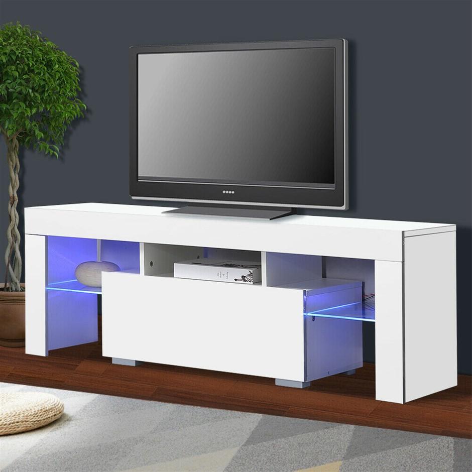TV Cabinet Entertainment Unit Stand Wooden LED Lowline Media Shelf