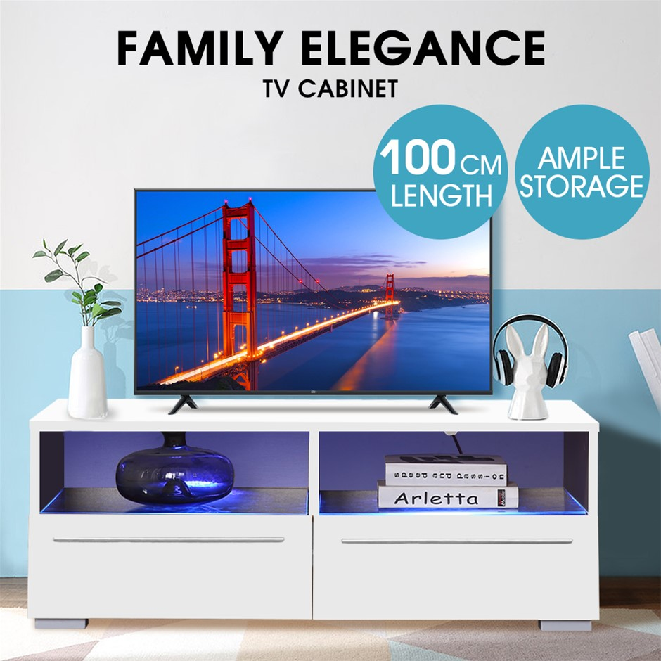 Levede TV Cabinet Stand Entertainment Unit Lowline White LED Furniture