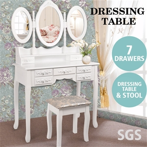 Levede Dressing Table Stool 3 Mirror Cab