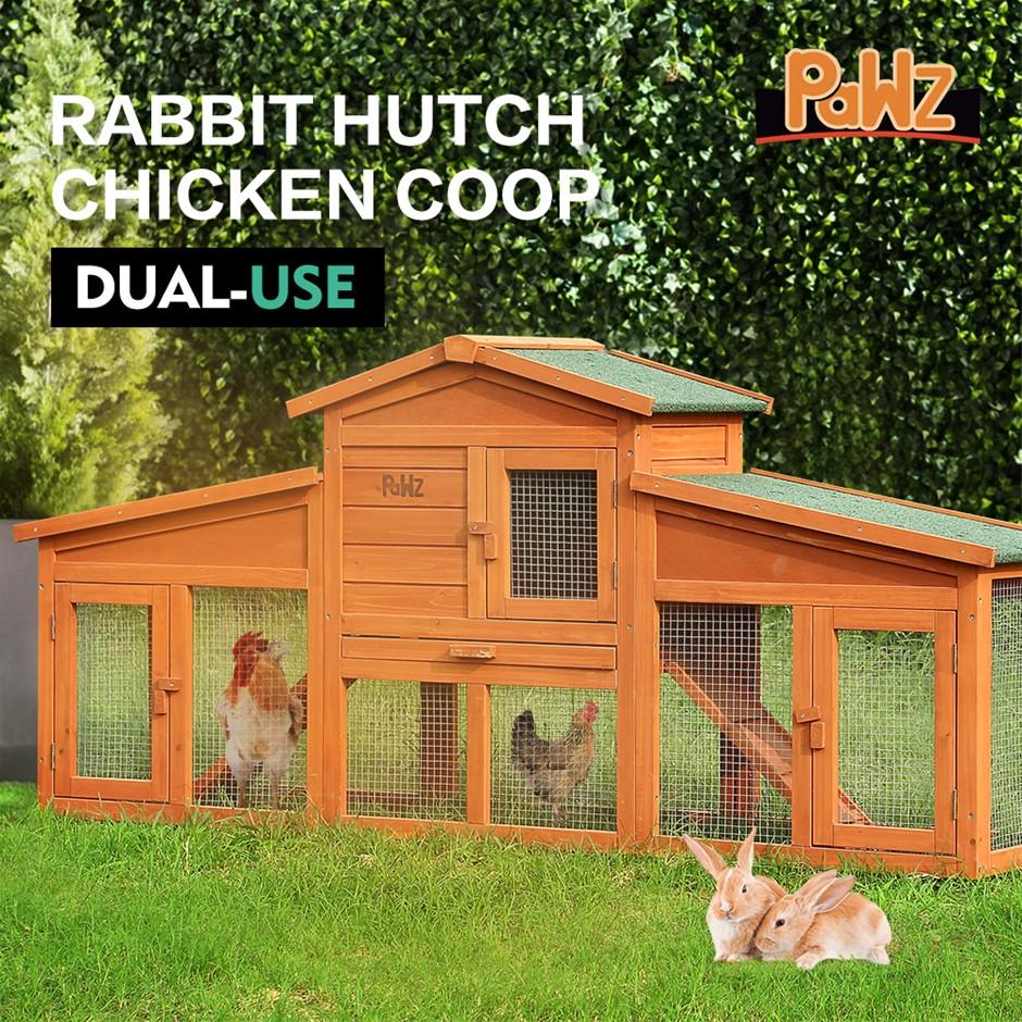 PaWz Wooden Rabbit Hutch Chicken Hen Chock House Runs Coop Guinea Pig Cage