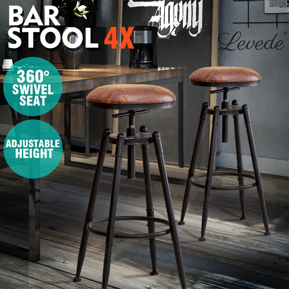 4x Levede Rustic Industrial Bar Stool Kitchen Stool Swivel Dining Chair