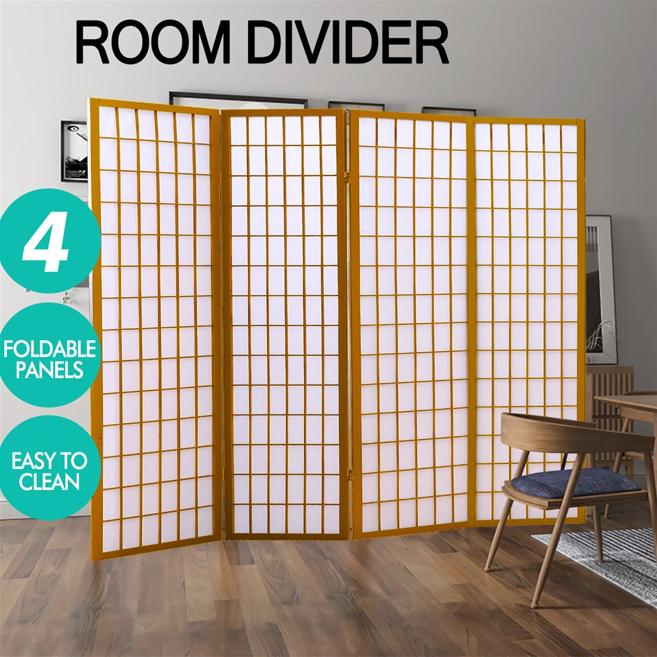 Levede 4 Panel Room Divider Screen Door Stand Wood Fold Natural