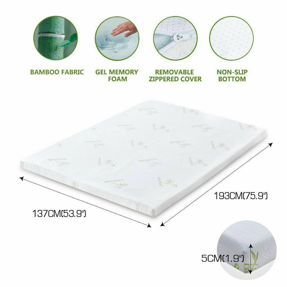 DreamZ 5cm Thickness Cool Gel Memory Foam Mattress Topper Bamboo Double