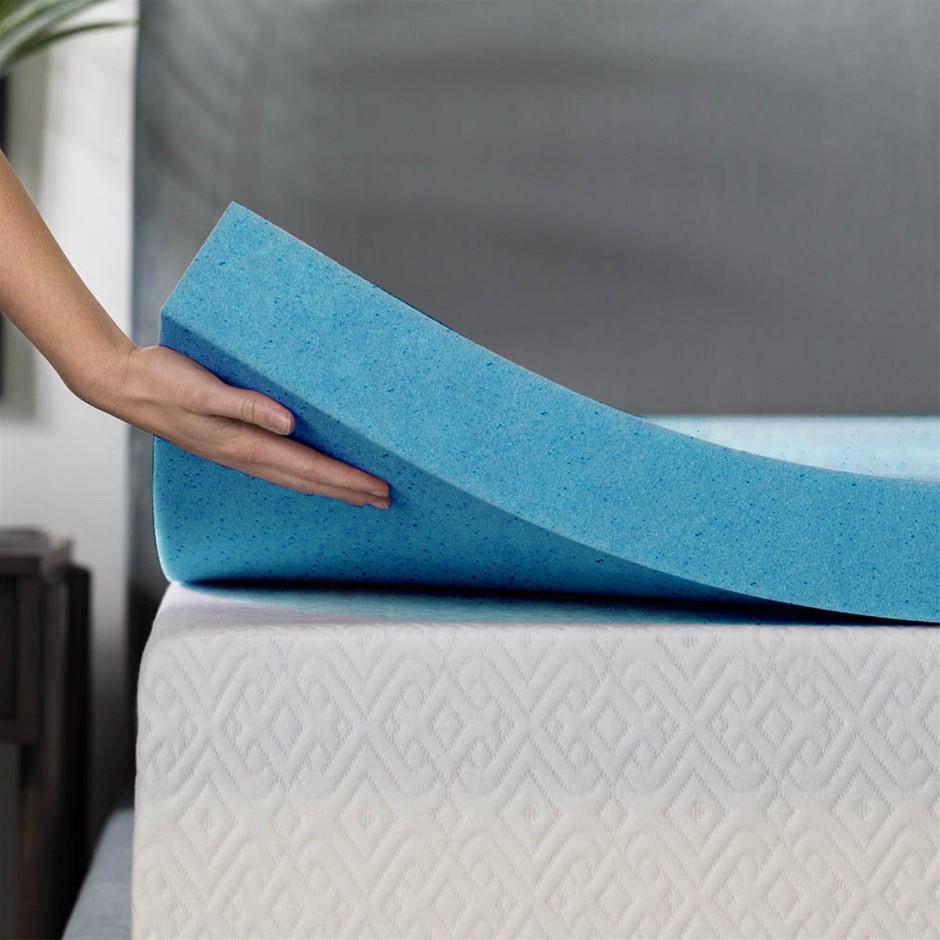 DreamZ 5cm Thickness Cool Gel Memory Foam Mattress Topper Bamboo Double