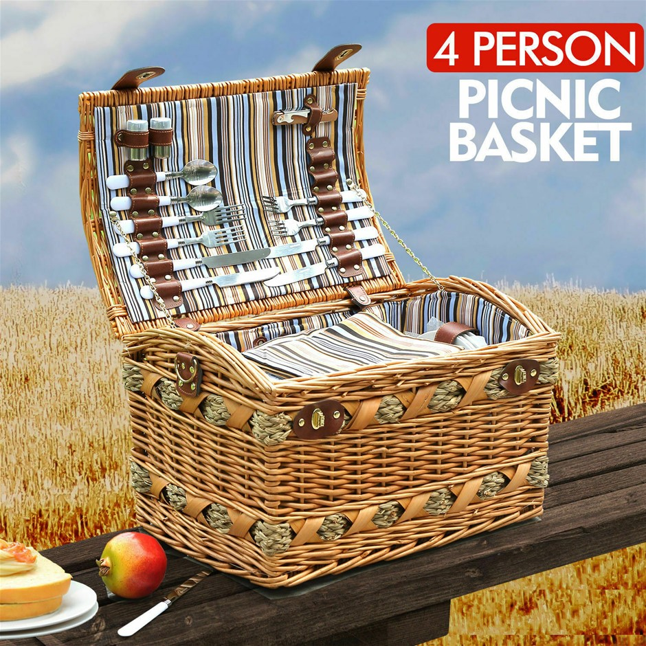 Wicker 4 Person Picnic Basket Baskets Set Outdoor Blanket Deluxe Storage