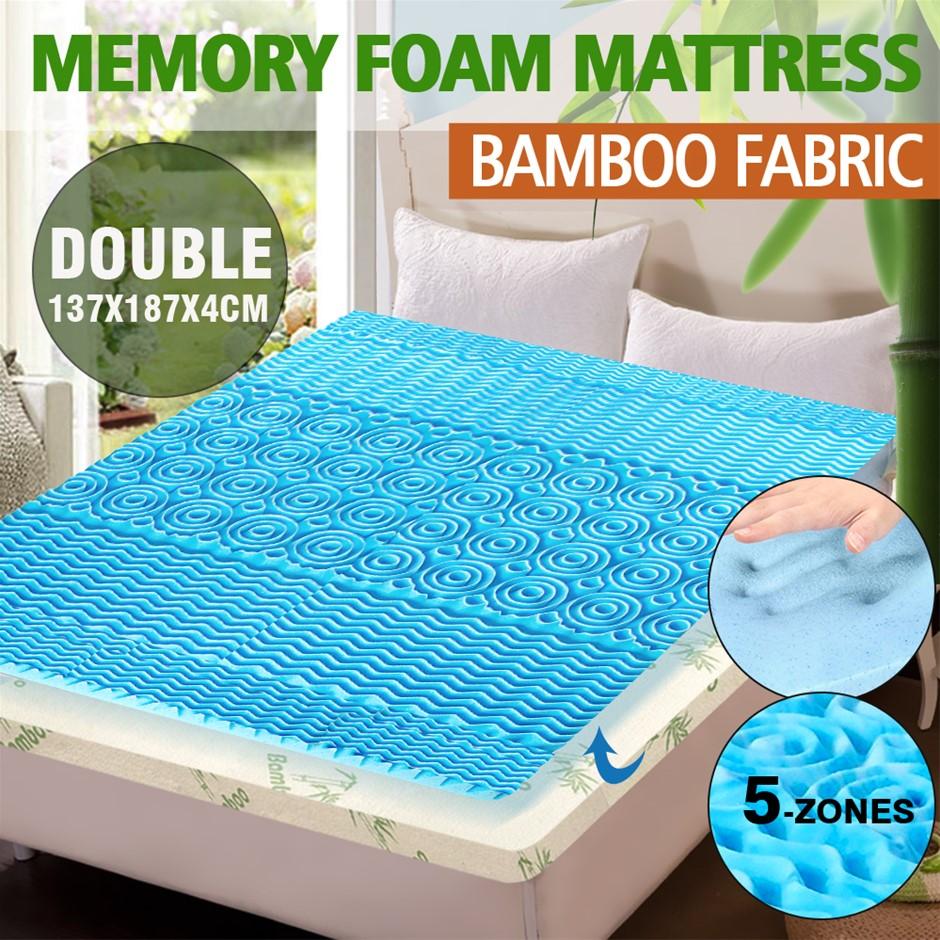 COOL GEL Memory Foam Mattress Topper Bamboo Fabric Cover 4CM 5-Zone Double