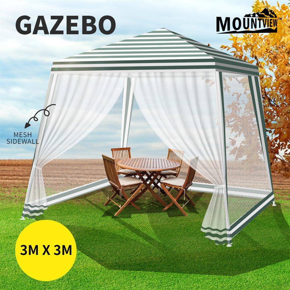 Mountview Pop Up Marquee Gazebo 3x3m Outdoor Canopy Tent Mesh Side Wall