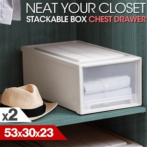2x Shoe Boxes Wide Drawer Plastic Stacka