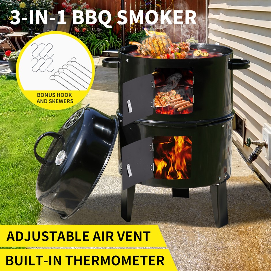 3in1 Charcoal BBQ Grill Smoker Portable Outdoor Barbecue Roaster Steel