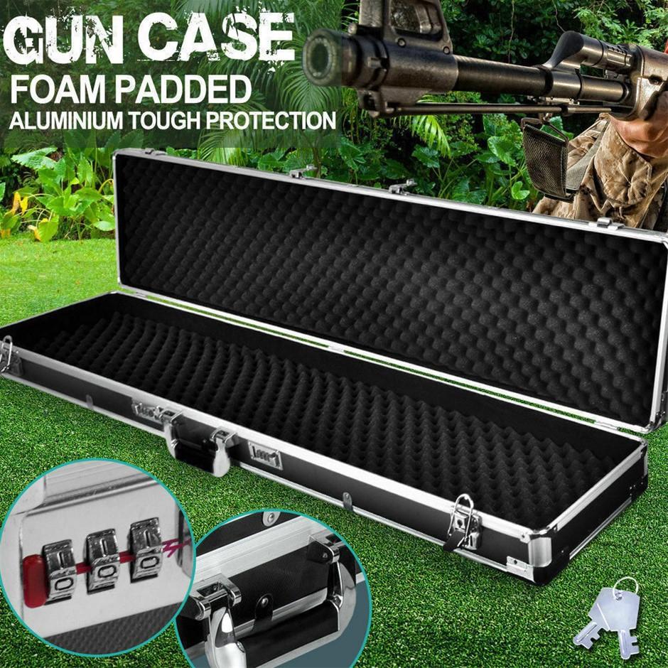 Portable Hard Aluminium Double Hunting Gun Cases Safe Bag Rifle Shot