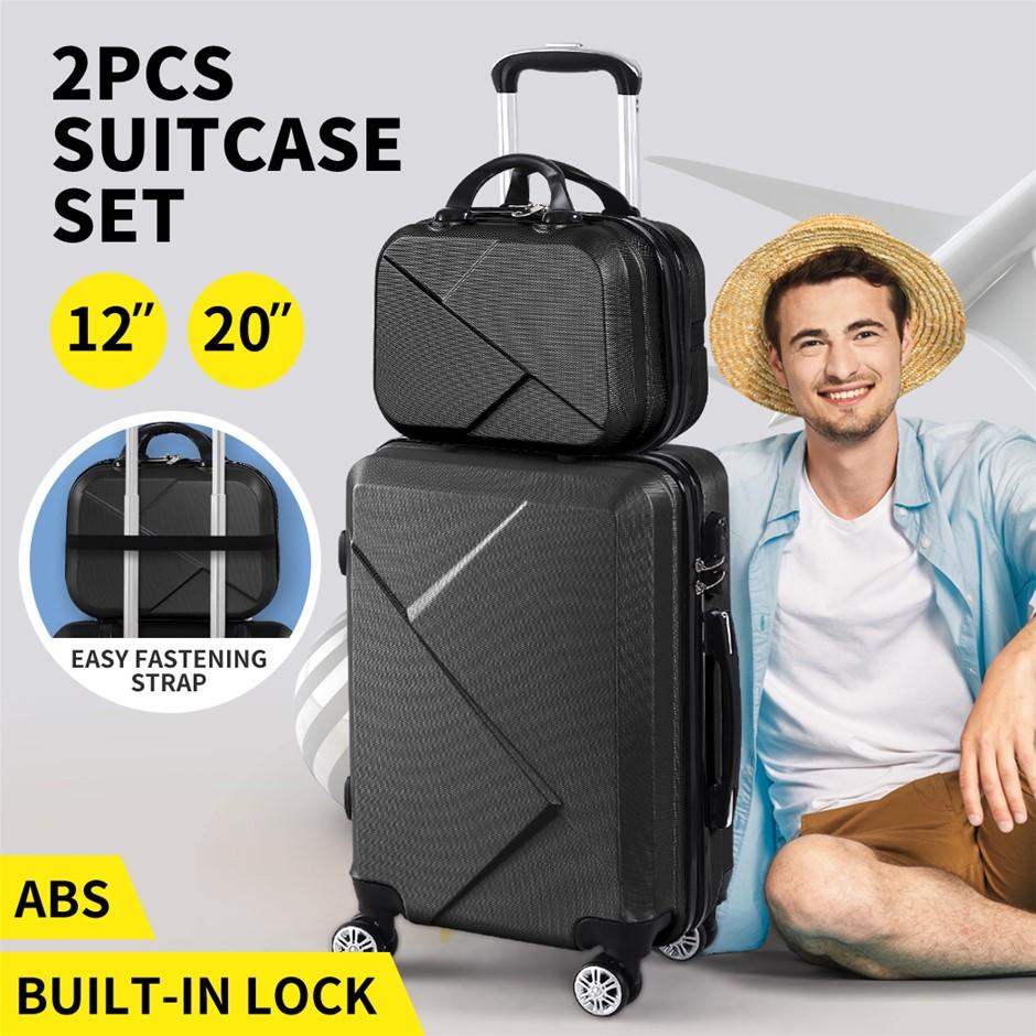 "2pcs 20""Travel Luggage Set Baggage Trolley Carry On Suitcase Vanity Bag"