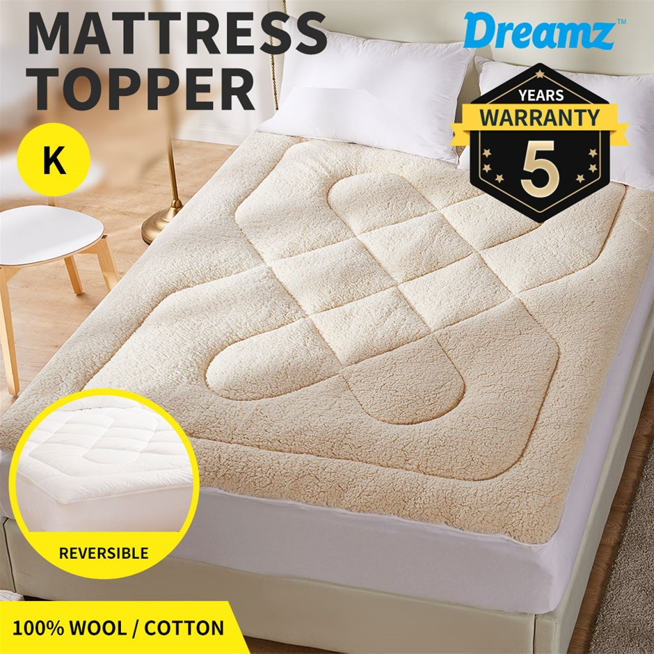 Dreamz Mattress Topper 100% Wool Underlay Reversible Mat Pad Protector King