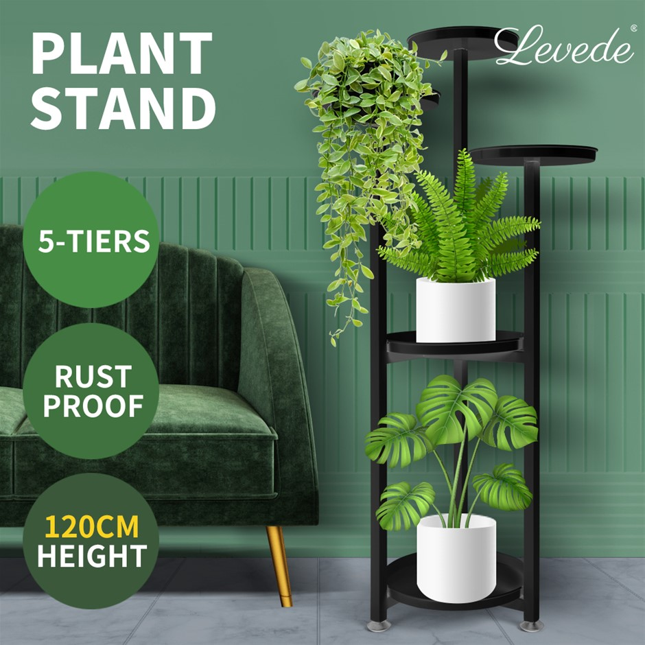 Levede Plant Stand Outdoor Indoor Flower Pots Rack Garden Shelf Black 120CM