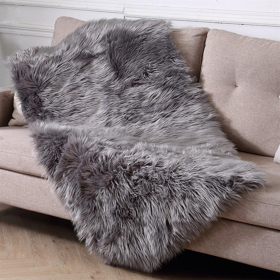 Floor Rugs Sheepskin Shaggy Carpet Bedroom Living Room Mat 160X230 Dark