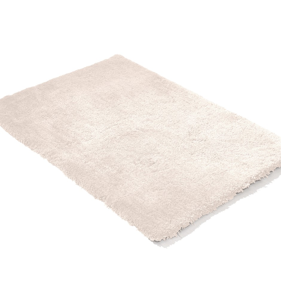Ultra Soft Anti Slip Rectangle Plush Shaggy Floor Carpet in Beige 90x150cm