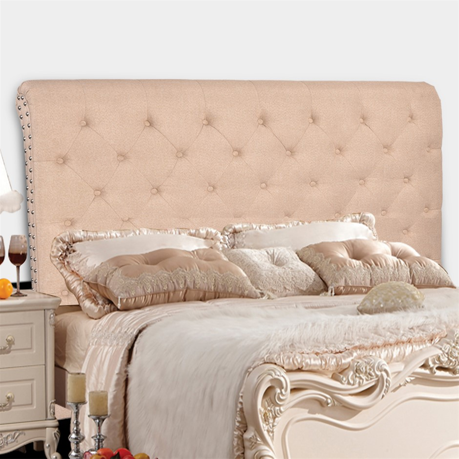 Levede Upholstered Fabric Bed Headboard in Double Size in Beige Colour