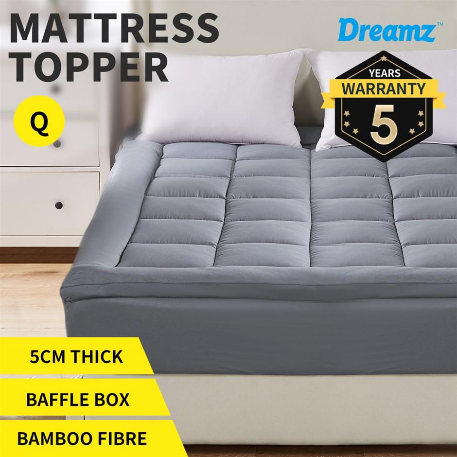 Dreamz Mattress Topper Bamboo Luxury Pillowtop Mat Protector Cover Queen