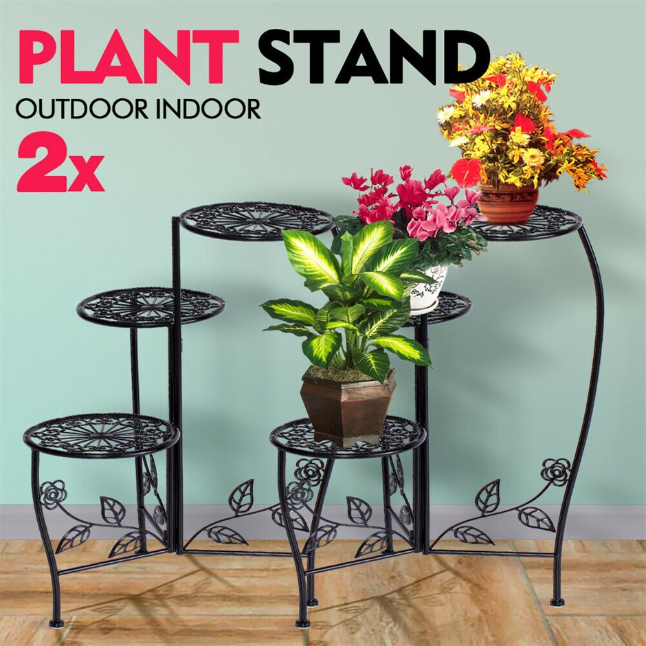 2X Wrought Iron Outdoor Indoor Flower Pots Stand Garden Metal Corner Shelf