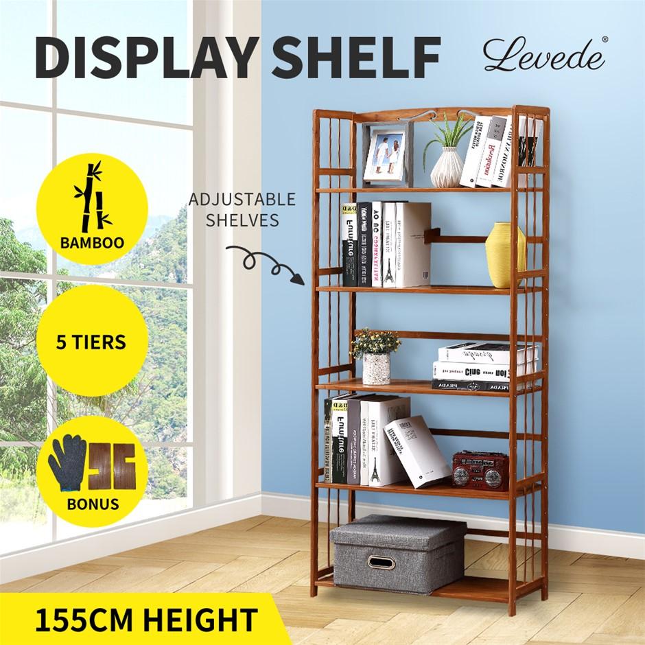 Levede Display Shelf 5 Tier Bamboo Bookshelf Ladder Bookcase Wooden Rack