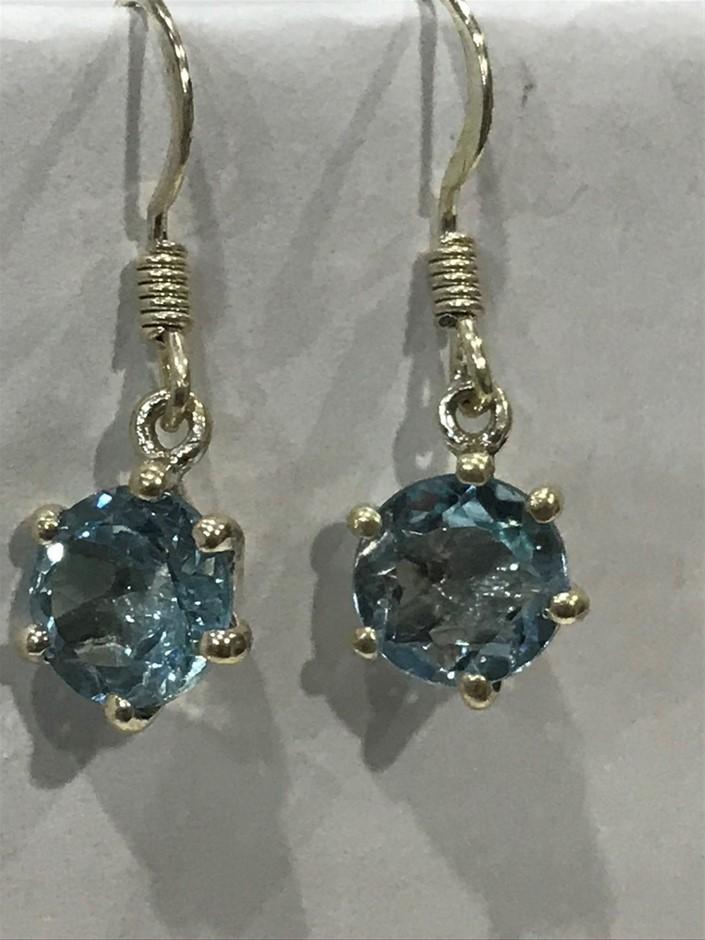 Stunning Genuine 3.60ct Blue Topaz Drop Earrings