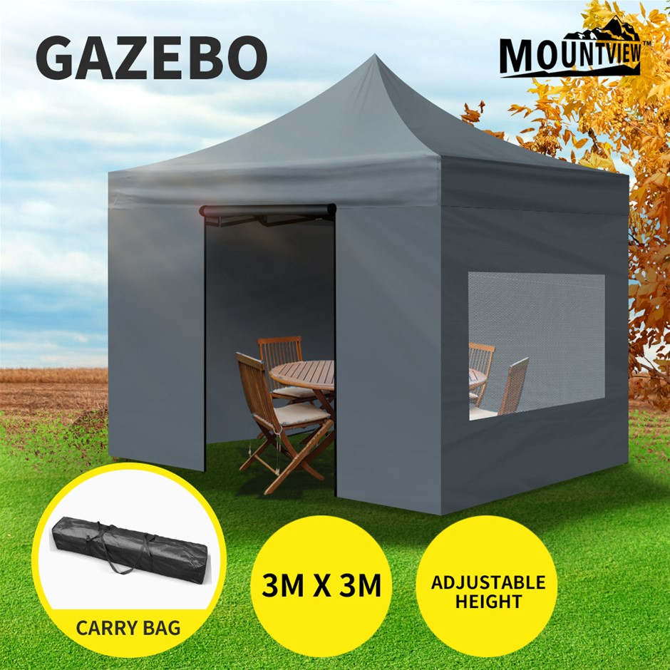 Mountview Gazebo Tent 3x3 Outdoor Marquee Camping Canopy Mesh Side Wall