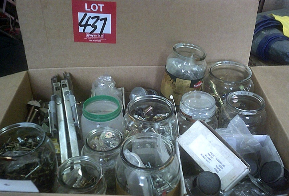 Box of assorted, Hardware, drawer runners, screws, bolts.