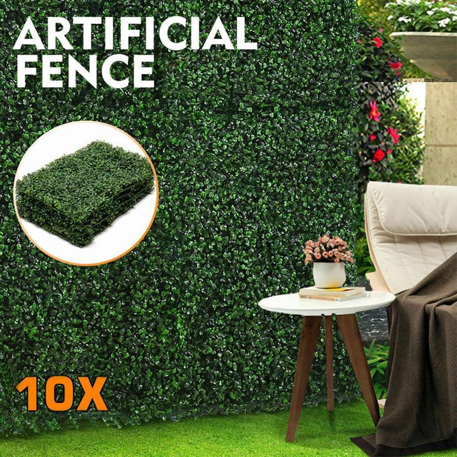 10x Artificial Boxwood Hedge Fake Vertical Garden Wall Mat Fence 60x40X5cm