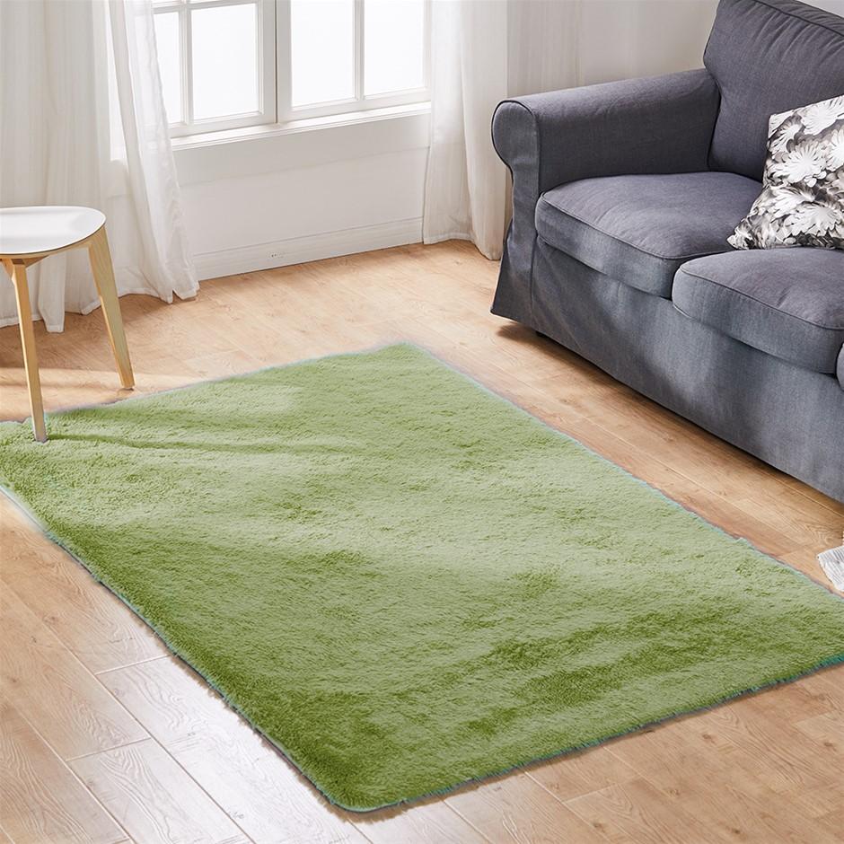 Designer Soft Shag Shaggy Floor Confetti Carpet 300x200cm Green