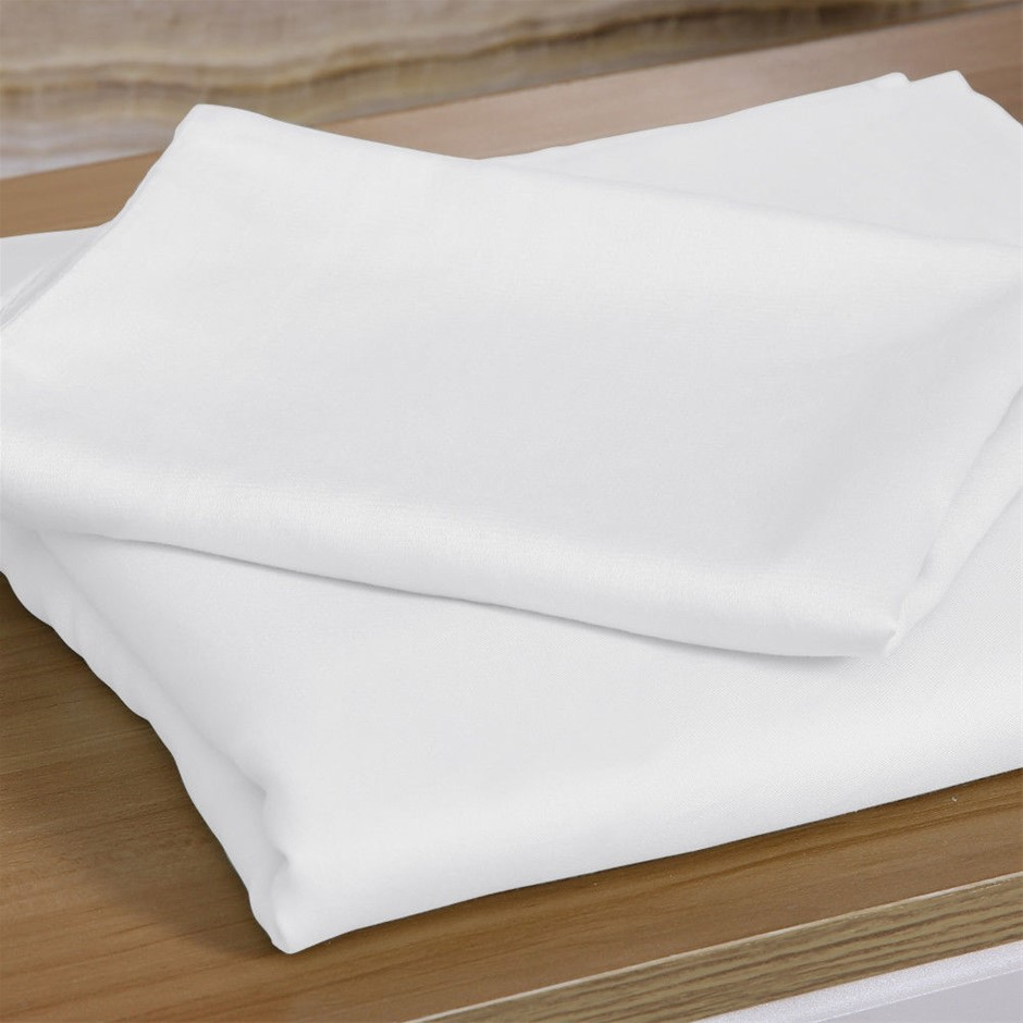 DreamZ 4 Pcs Natural Bamboo Cotton Bed Sheet Set in Size King White