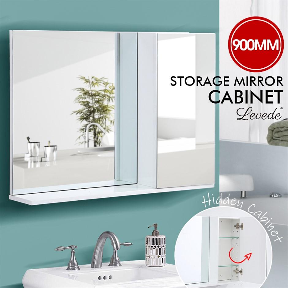 Levede Wall Hung Mirror Bathroom Vanity Toilet Laundry Organizer