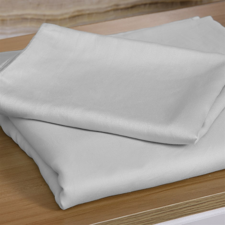 DreamZ 4 Pcs Natural Bamboo Cotton Bed Sheet Set in Size Double Grey