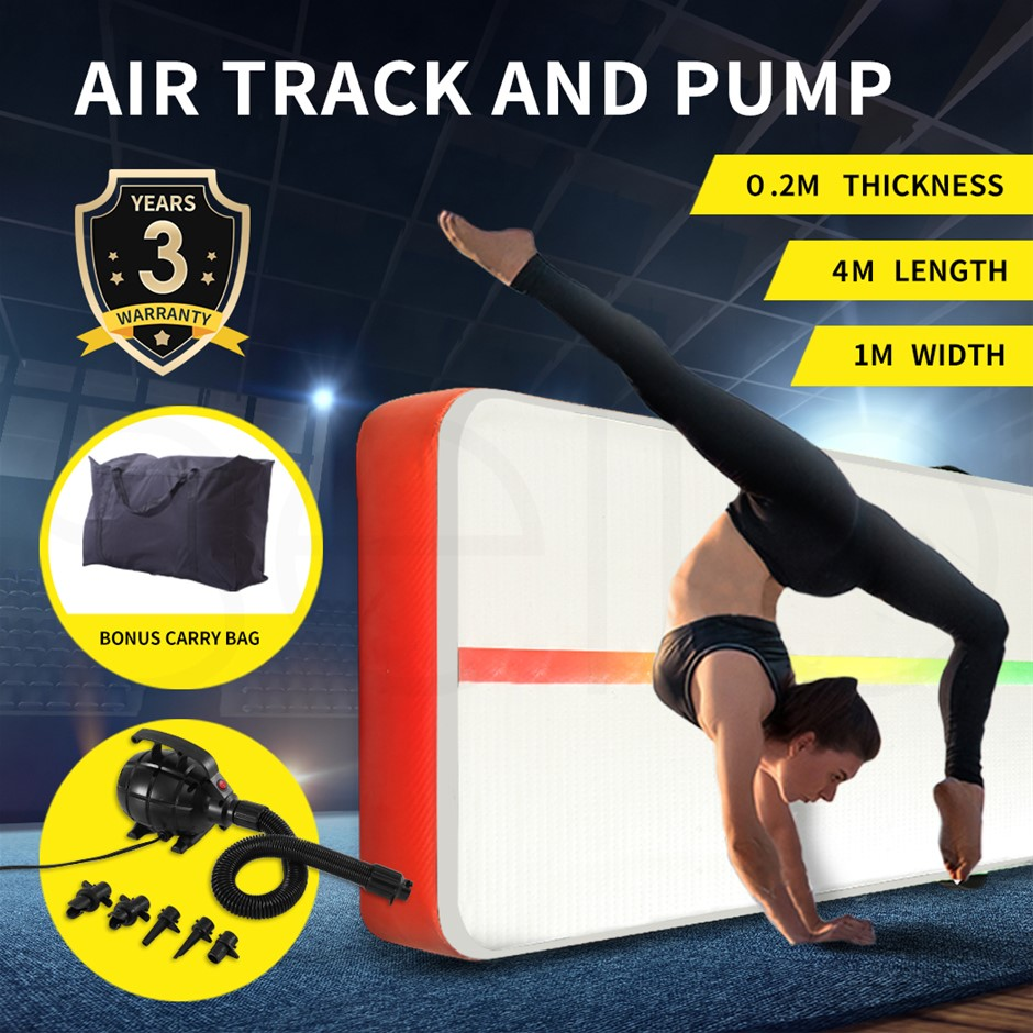 4x1M Inflatable Air Track Mat Tumbling Pump Floor Home Gym in Red