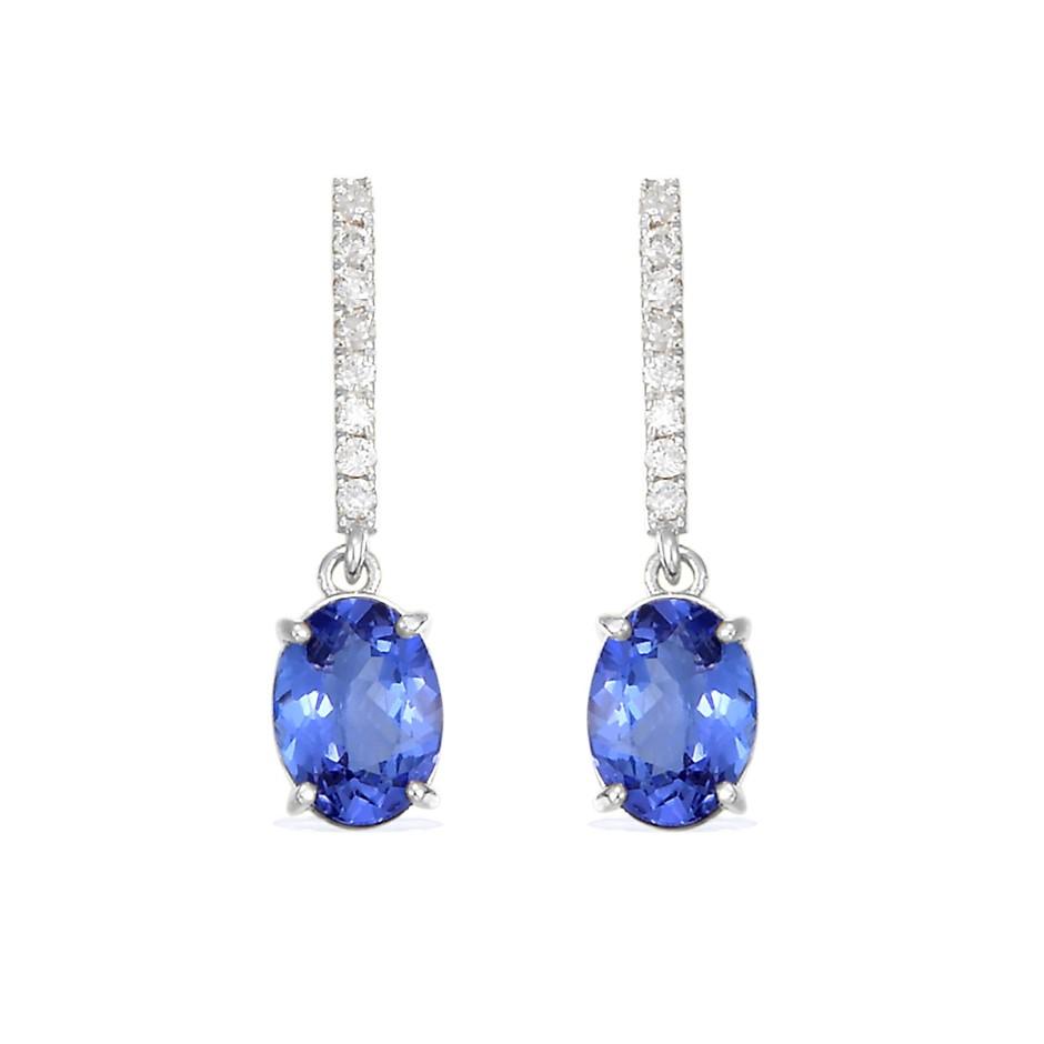 9ct White Gold, 2.41ct Tanzanite and Diamond Earring