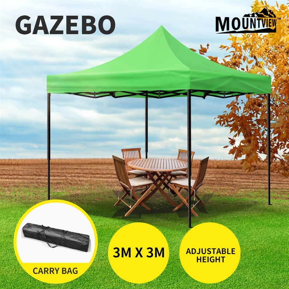 Mountview Gazebo Tent 3x3 Outdoor Marquee Gazebos Camping Canopy Green