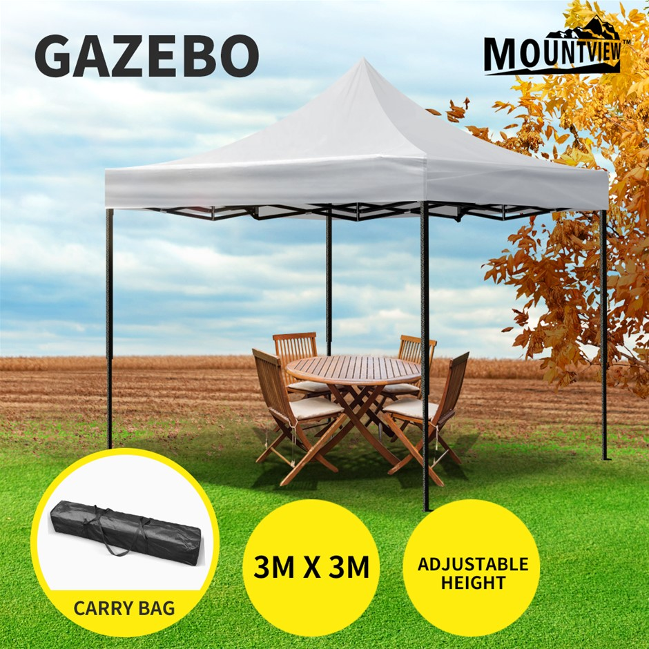 Mountview Gazebo Tent 3x3 Outdoor Marquee Gazebos Camping Canopy Silver