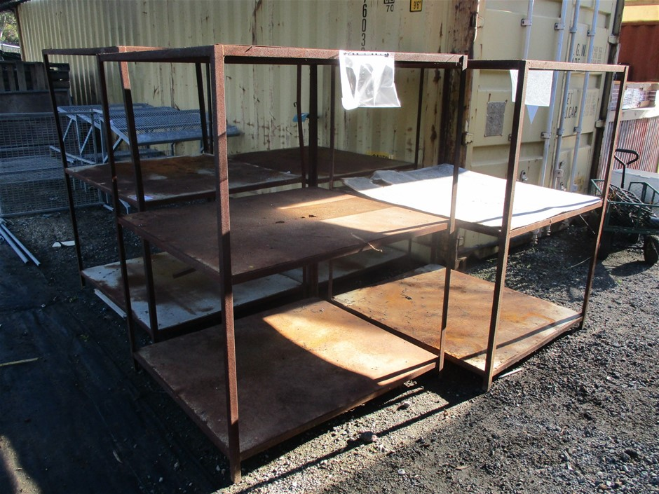 4 x Steel Fabricated 3 Shelf Stands