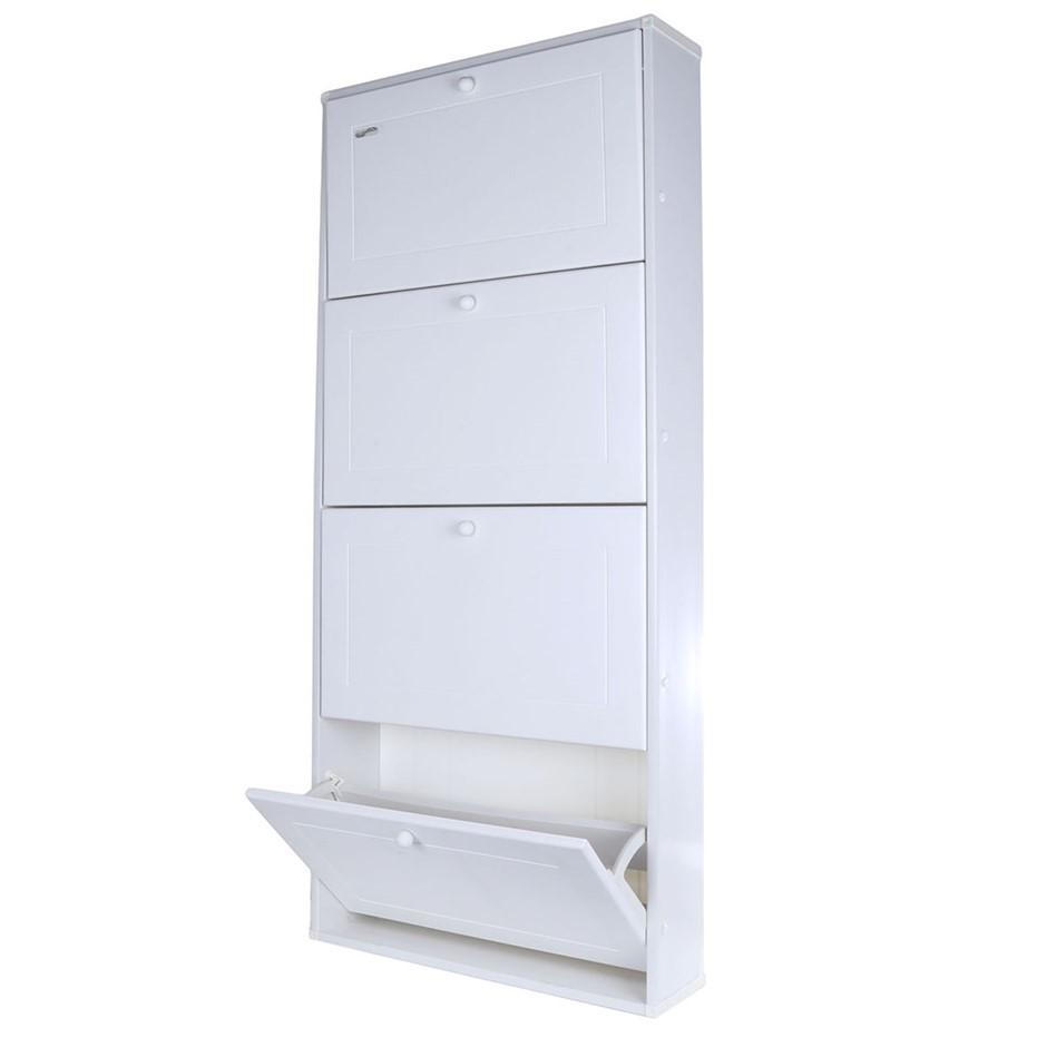 TRIOPLAST Resin Indoor/Outdoor 4-Door Shoe Holder Unit, 64cm x 17cm x 147cm