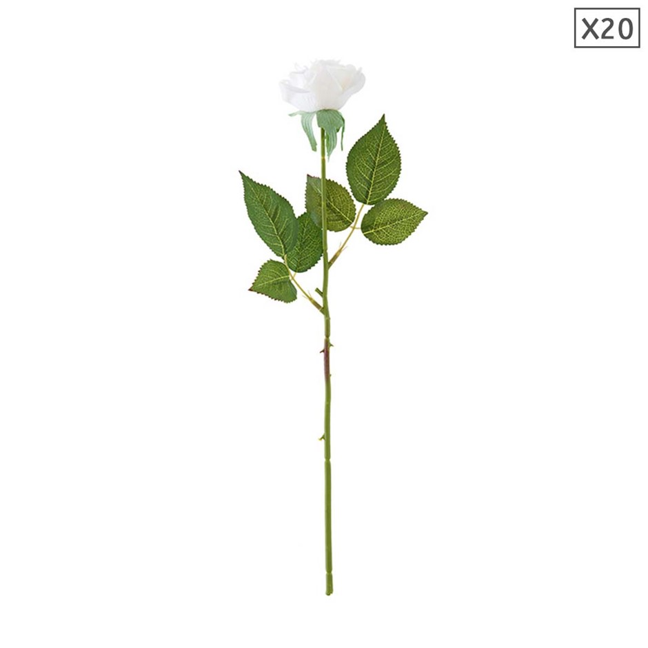 SOGA 20pcs Artificial Silk Flower Fake Rose Bouquet Table Decor White
