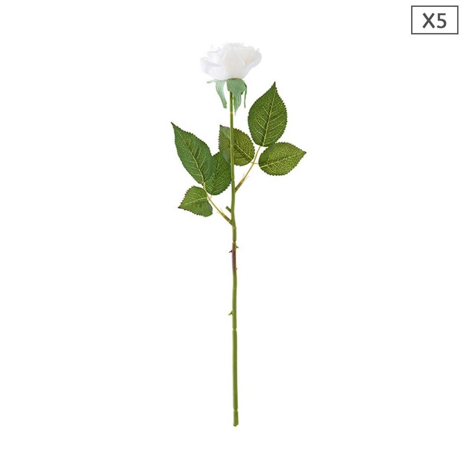 SOGA 5pcs Artificial Silk Flower Fake Rose Bouquet Table Decor White
