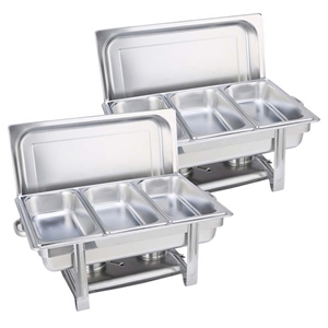 SOGA 2X Triple Tray Stainless Steel Chaf