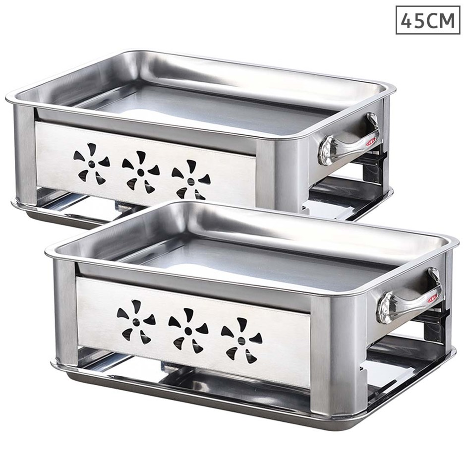 2X 45CM Portable SS Outdoor Chafing Dish BBQ Fish Stove Grill Plate